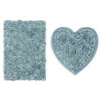 2-Piece Bellflower Heart Bath Rug Set in Blue