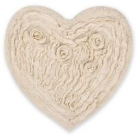 "Bellflower Heart 25"" x 25"" Bath Rug in Natural"