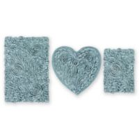 3-Piece Bellflower Heart Bath Rug Set in Blue