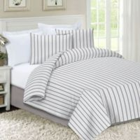 Striped Flannel Full/Queen Duvet Cover Set in Grey