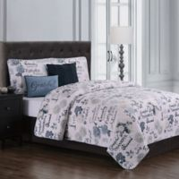 Maze Daze Reversible King Quilt Set in Blue/Ivory