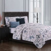 Maze Daze Reversible Queen Quilt Set in Blue/Ivory
