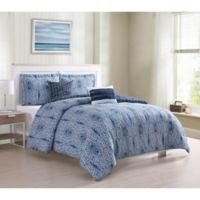 Boho Living Darhma Aztec 5-Piece Queen Comforter Set in Navy