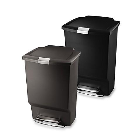simplehuman® plastic rectangular 45-liter step-on trash can - bed