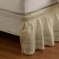 Ruffled Eyelet Queen/King Bed Skirt in Ivory