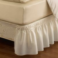 Ruffled Solid Queen/King Adjustable Bed Skirt in White