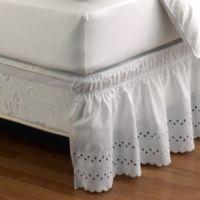 Ruffled Eyelet Queen/King Bed Skirt in White