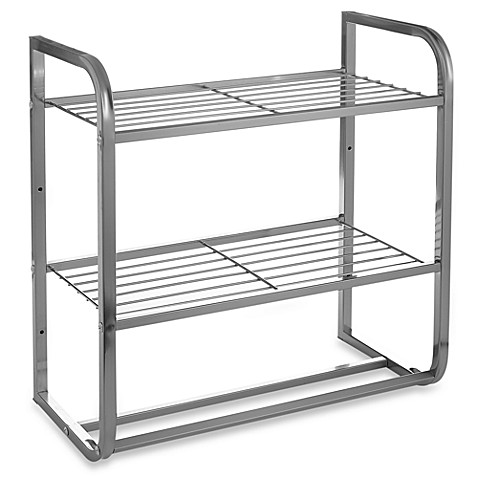 2-Tier Satin Nickel Shelf with Towel Bars - Bed Bath & Beyond