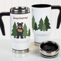 Holiday Bear Family Personalized Commuter Travel Mug