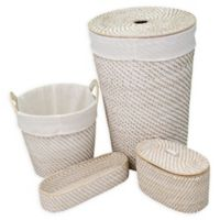 Biscayne 4-Piece Hamper, Tray and Basket Set in White Wash