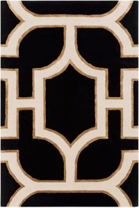 Surya Intermezzo Modern 5' x 7'6 Area Rug in Black/Cream
