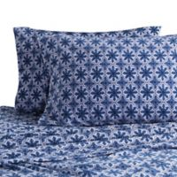 Berkshire Blanket Original Microfleece Snowflake Print Queen Sheet Set in Blue