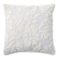 Peri Home Cut Geo Floral Square Throw Pillow in Grey