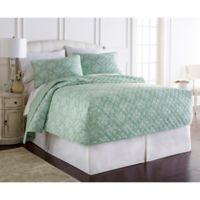 Micro Flannel® Toil Celadon King Fitted Quilt Set in Green