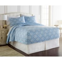Micro Flannel® Toile Wedgewood King Quilt Set in Blue
