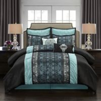 Arabesque 8-Piece Queen Comforter Set in Blue