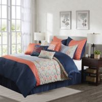 Dascha 10-Piece King Comforter Set in Coral