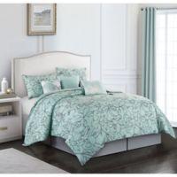Cattleya 7-Piece Queen Comforter Set in Aqua