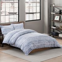 Garment Washed Printed King Duvet Cover Set in Chambray Stripe