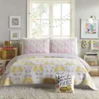 Hello Lucky Tiger Flowers Reversible King Quilt Set in Purple