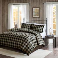 Woolrich® Flannel King/California King Duvet Cover Set in Black/Tan