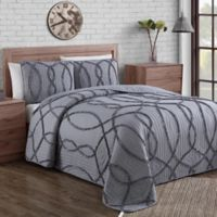 Sonora Ruffle Queen Quilt Set in Grey