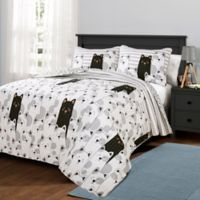 Lush Decor Stripe Bear Reversible Twin Quilt Set in Grey
