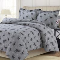 Tribeca Living Checkered Buck 100% Flannel 3-Piece King Duvet Cover Set in Grey