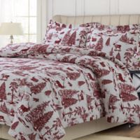 Tribeca Living Holiday Mountain Toile King Duvet Cover Set in Deep Red