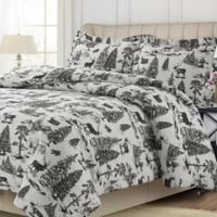 Tribeca Living Holiday Mountain Toile King Duvet Cover Set in Grey