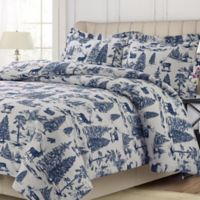 Tribeca Living Holiday Mountain Toile King Duvet Cover Set in Navy