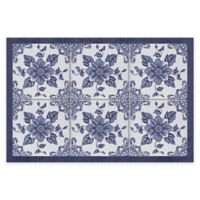 "FlorArt 24"" x 36"" Delft Floral Kitchen Mat in Blue"