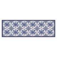 FlorArt 2' x 6' Delft Floral Runner in Blue