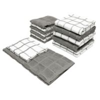 Checker Box 14-Piece Kitchen Towel and Dish Cloth Set in Steel Grey