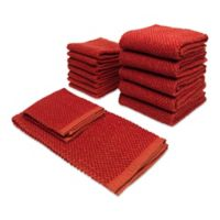 Bethany 14-Piece Kitchen Towel and Dish Cloth Set in Red