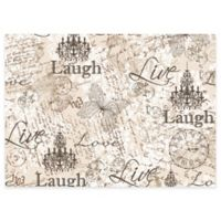 """Laugh, Love, Live"" Laminated Placemats in Grey (Set of 4)"