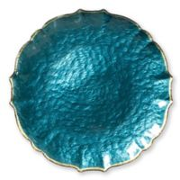 Viva Glass Charger Plate in Teal