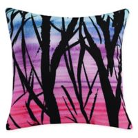 E by Design Sunset Branches Square Throw Pillow in Pink