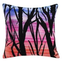 E by Design Sunset Branches Square Throw Pillow in Orange
