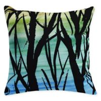 E by Design Sunset Branches Square Throw Pillow in Blue