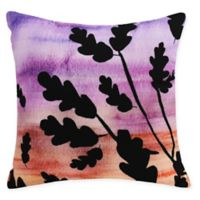 E by Design Flowing Leaves Square Throw Pillow in Orange