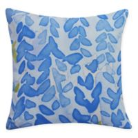 E by Design Flower Bell Square Throw Pillow in Blue