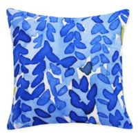 E by Design Flower Bell Square Throw Pillow in Dark Blue