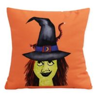 E by Design Witches Hat Square Throw Pillow in Orange