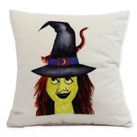 E by Design Witches Hat Square Throw Pillow in Cream
