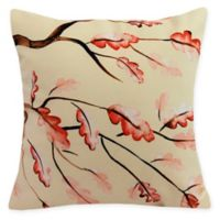 E by Design Wild Oak Branch Square Throw Pillow in Cream