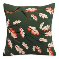 E by Design Wild Oak Branch Square Throw Pillow in Dark Green