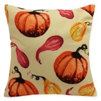 E by Design Gourds Galore Square Throw Pillow in Light Yellow