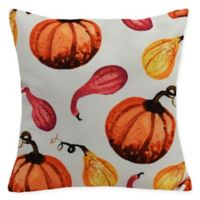 E by Design Gourds Galore Square Throw Pillow in Cream