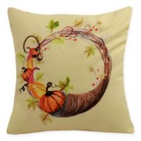 E by Design Cornucopia Wreath Square Throw Pillow in Light Yellow